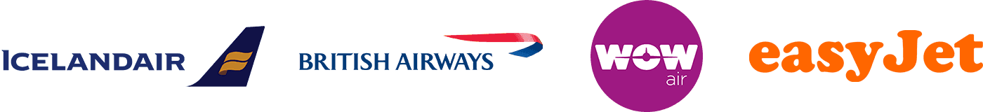 Icelandair, British Airways, Wow Air, EasyJet